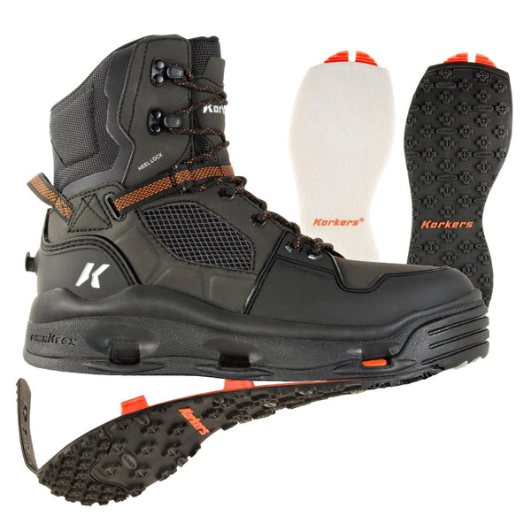 Korkers Terror Ridge Wading Boots with Felt and Kling-On Rubber Outsoles - Black