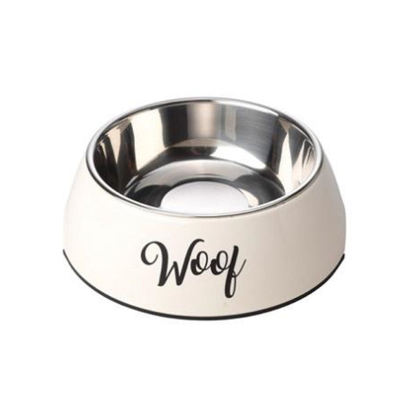 House of Paws Woof Cream Dog Bowl
