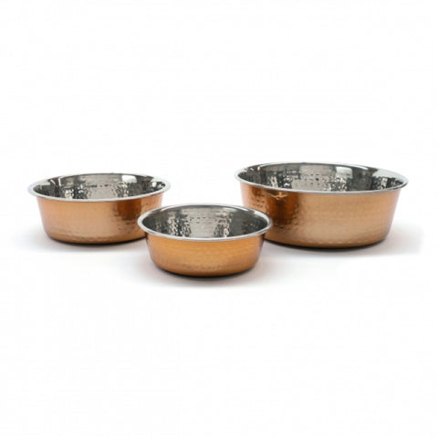 Rosewood Hammered Copper Pet Bowls - all sizes