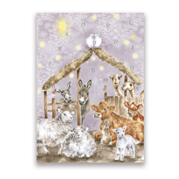 Wrendale Designs A5 Advent Calendar Card - Away In A Manger