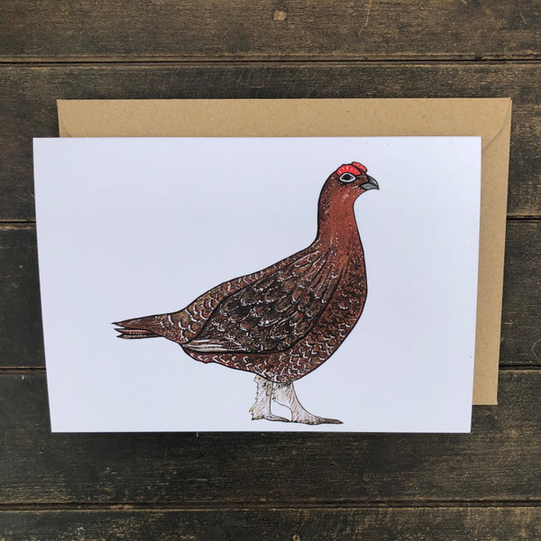Rosie Dutson Game Bird Greeting Cards - Red Grouse