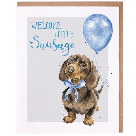 Wrendale Designs Celebration Card - Little Sausage (Blue)