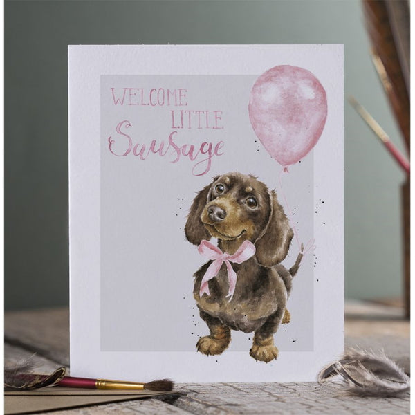 Wrendale Designs Celebration Card - Little Sausage (Pink)