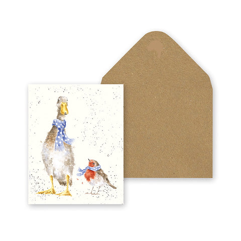 Wrendale Designs Charity Miniature Christmas Card - Christmas Scarves