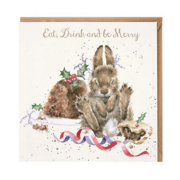 Wrendale Designs Eat, Drink and Be Merry Christmas Card