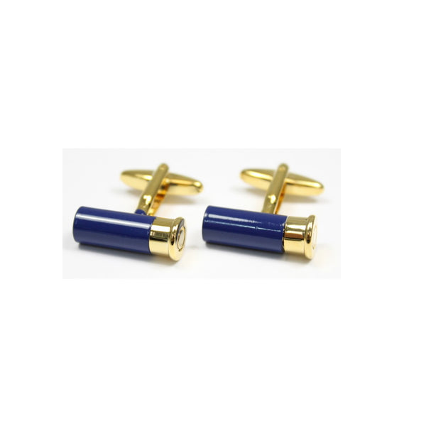John Norris Country Cufflinks - Blue/Gold Shotgun Cartridge