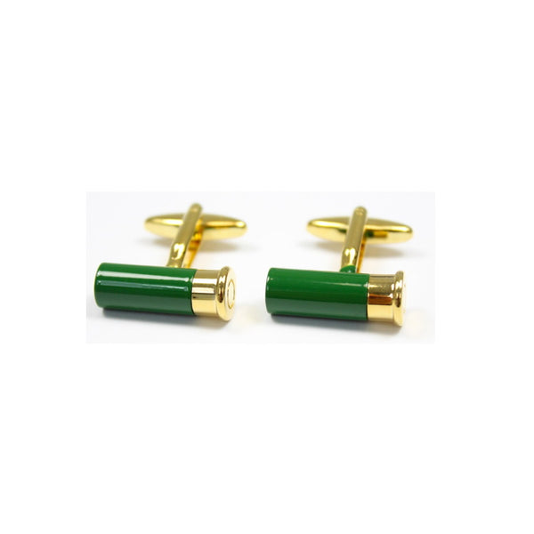 John Norris Country Cufflinks - Green/Gold Shotgun Cartridge