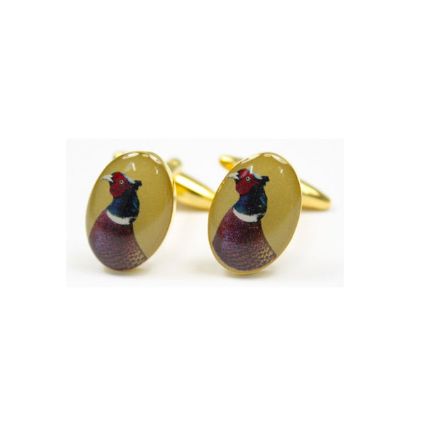 John Norris Country Cufflinks - Pheasant Head Gold