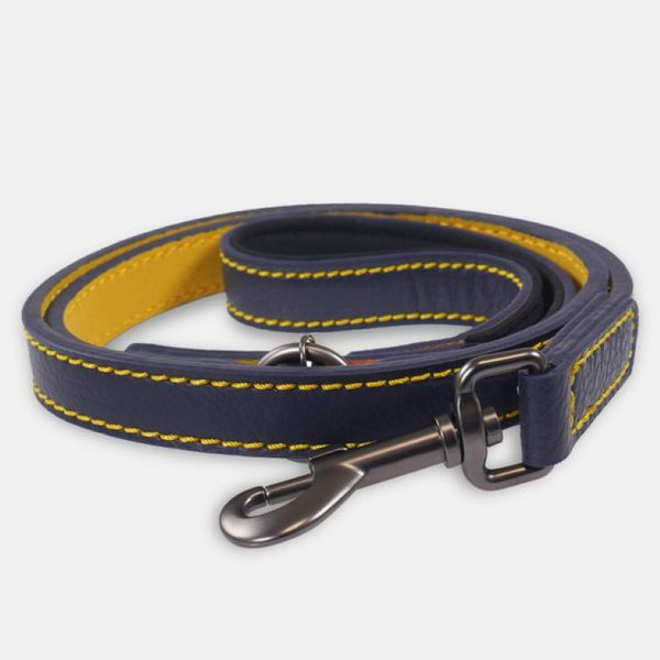 Joules Leather Dog Lead - Navy