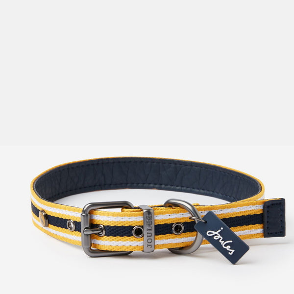 Joules Coastal Dog Collar - Yellow Stripe