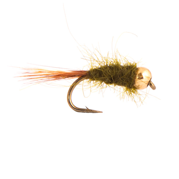 Olive Nymph Gold Bead Flies