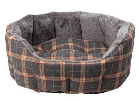 House of Paws Check Tweed Oval Snuggle Dog Beds