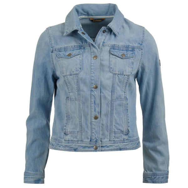 Barbour Ladies Rippled Denim Jacket - Bleached Denim - Size 16