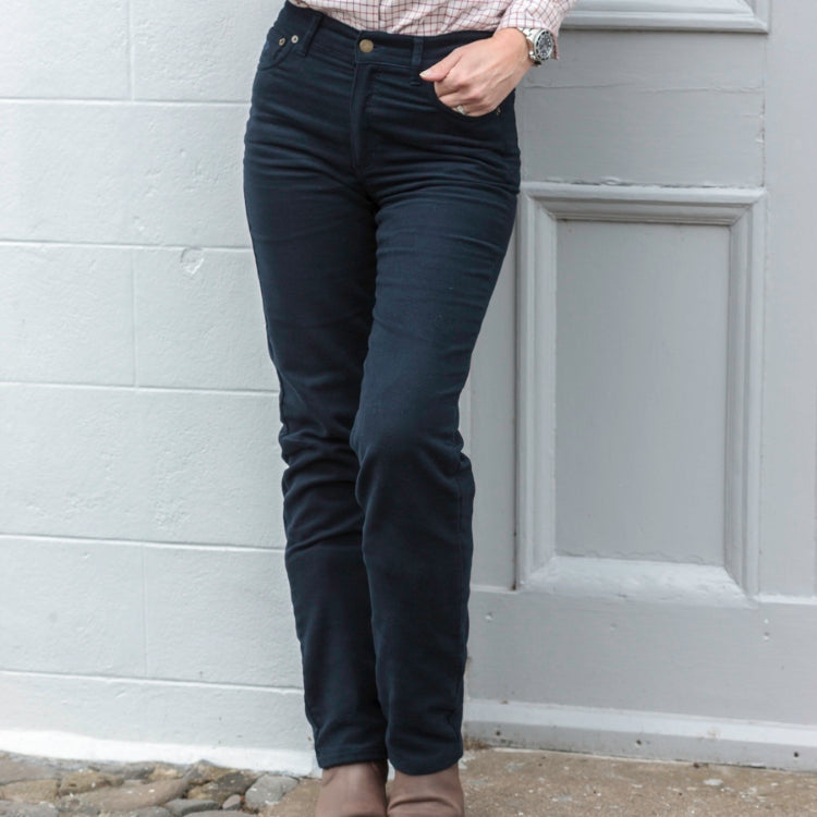 Hoggs of Fife Ladies Straight Leg Stretch Moleskin Jeans- Navy