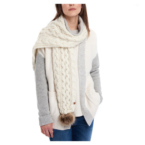 Barbour Ladies Cable Pom Scarf - Cloud
