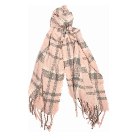 Barbour Ladies Tartan Boucle Scarf - Pink/Grey
