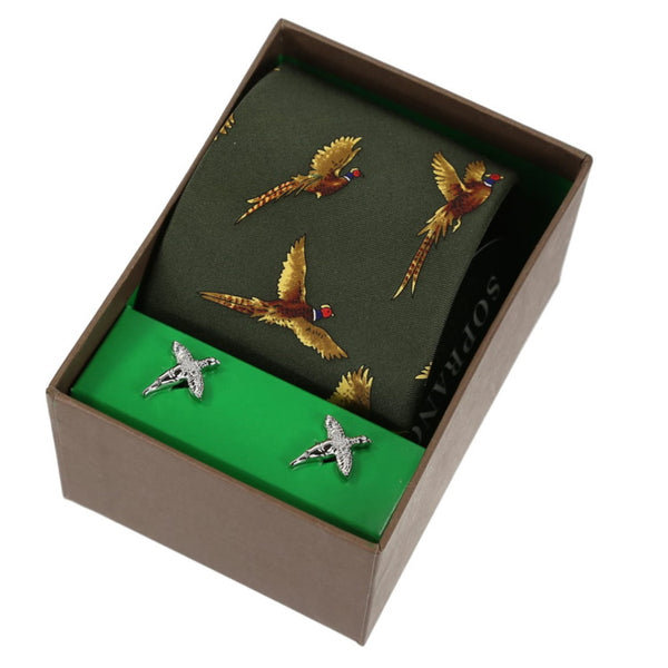 John Norris Country Woven Silk Tie and Cufflink Gift Box Set - Green Flying Pheasant