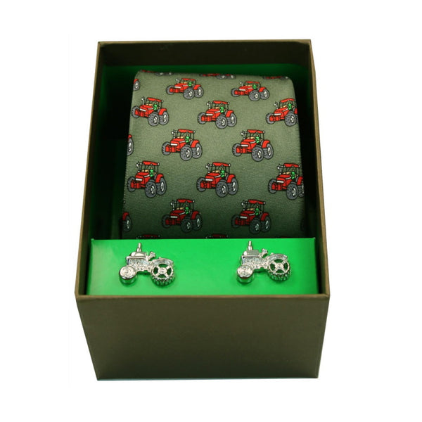 John Norris Country Woven Silk Tie and Cufflink Gift Box Set - Green Red Tractors
