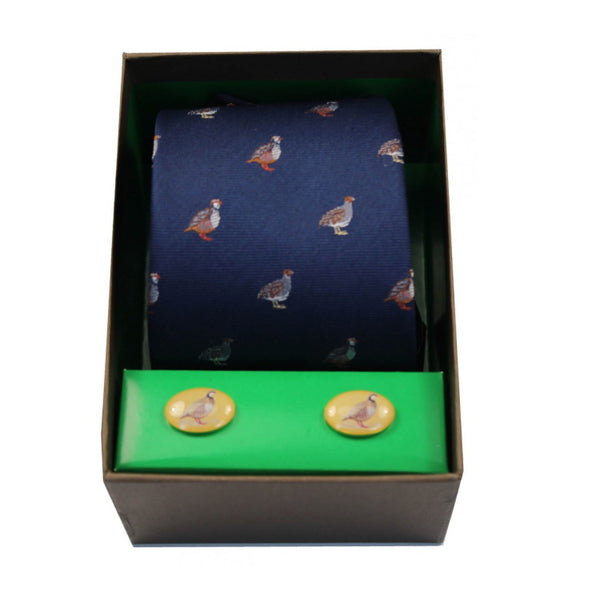 John Norris Country Woven Silk Tie and Cufflink Gift Box Set - Navy Grouse