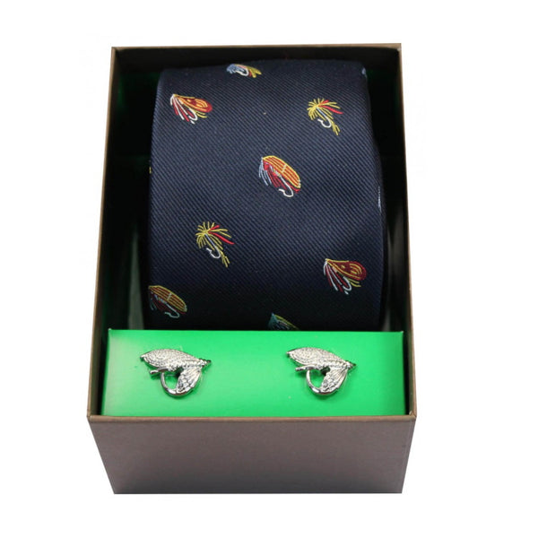 John Norris Country Woven Silk Tie and Cufflink Gift Box Set - Navy Fishing Flies
