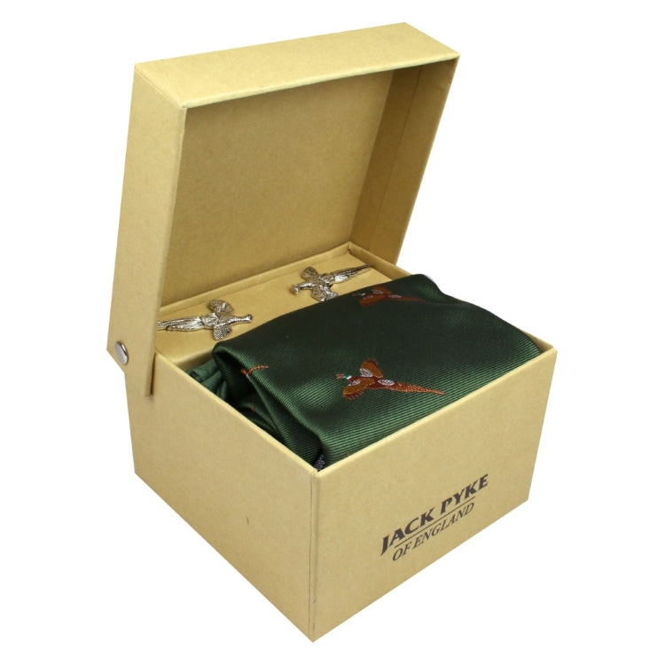 Jack Pyke Pheasant Cufflinks Tie and Hanky Gift Set - Green