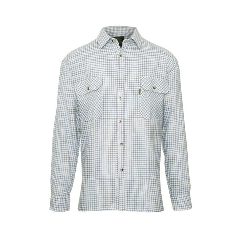 John Norris Tattersall Cotton Shirts - Blue