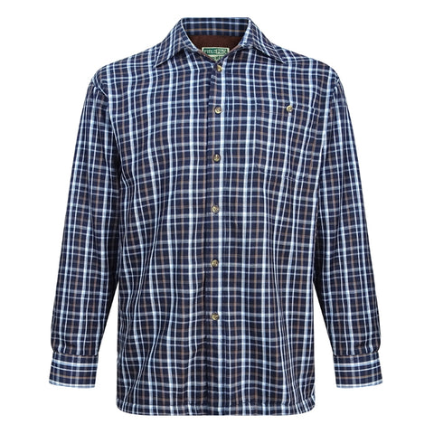 Hoggs of Fife Bark Micro Fleece Lined Shirt - Navy/Brown Check