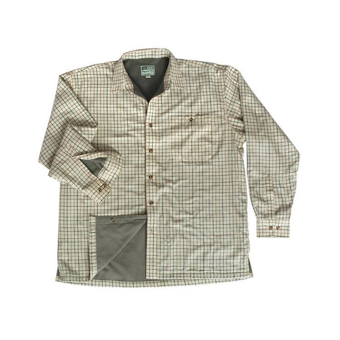 Hoggs of Fife Birch Micro Fleece Lined Shirt - Olive/Tan Check