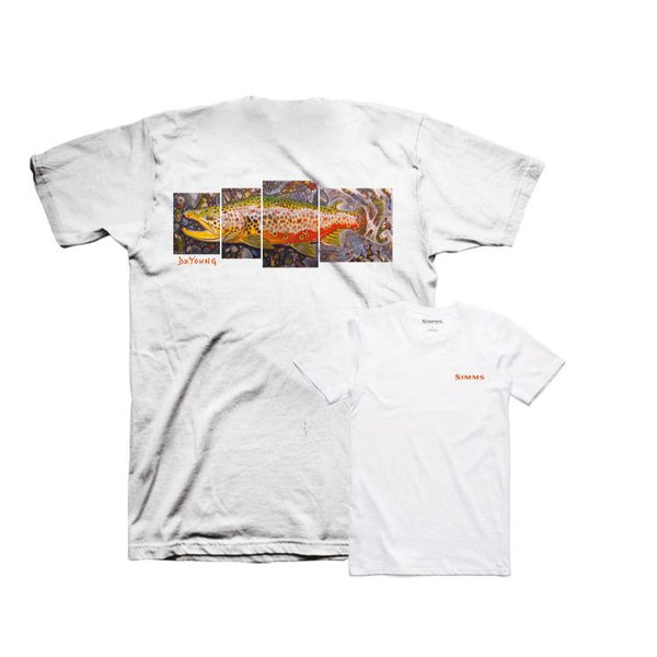 Simms DeYoung Brown Trout T-Shirt - White