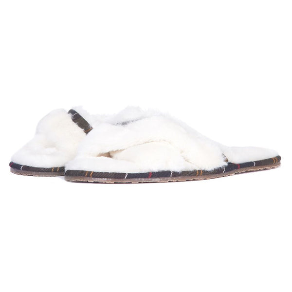 Barbour Ladies Lottie Slippers - Cream/Classic Tartan