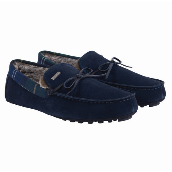 Barbour Tueart Moccasin Slippers - Navy Suede