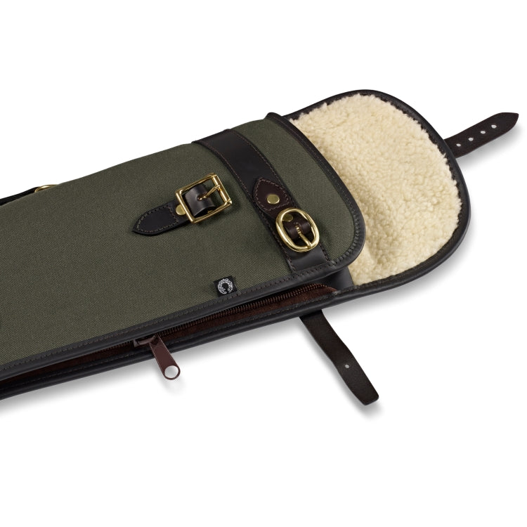 Croots Rosedale Canvas Shotgun Slip With Flap and Zip- Loden Green/Dark Leather