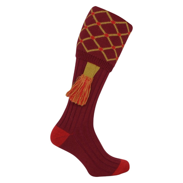 Jack Pyke Diamond Socks - Burgundy/Red/Gold