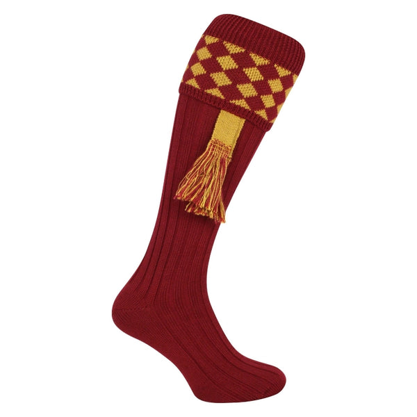 Jack Pyke Harlequin Socks - Burgundy/Gold
