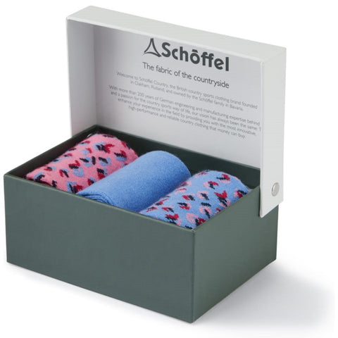 Schoffel Ladies Bamboo Socks Boxed Pack of 3 - Blue Mix