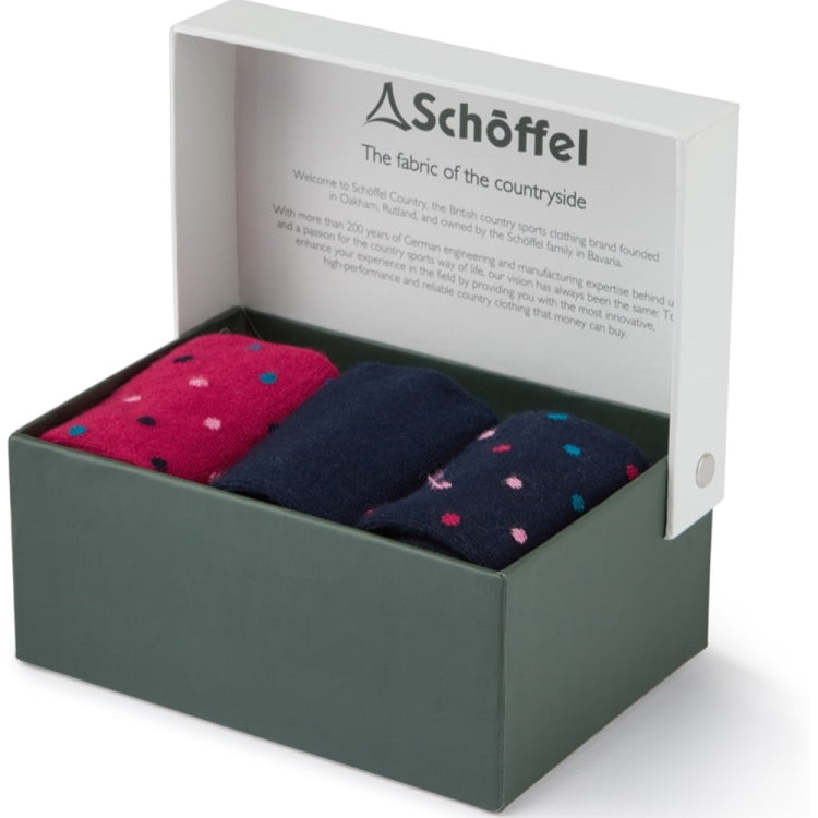 Schoffel Ladies Bamboo Socks Boxed Pack of 3 - Navy Dot Mix