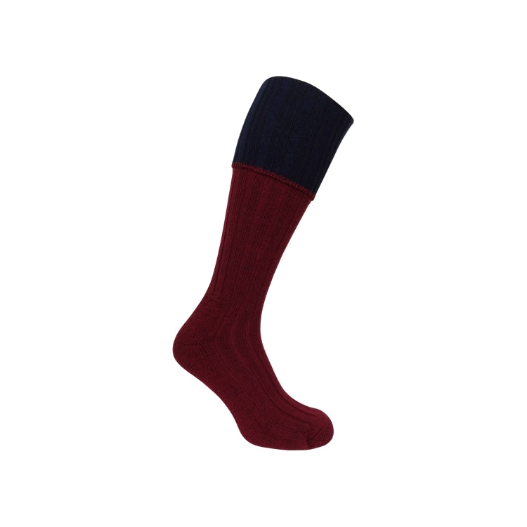 Hoggs of Fife Contrast Turnover Top Stocking - Burgundy/Navy