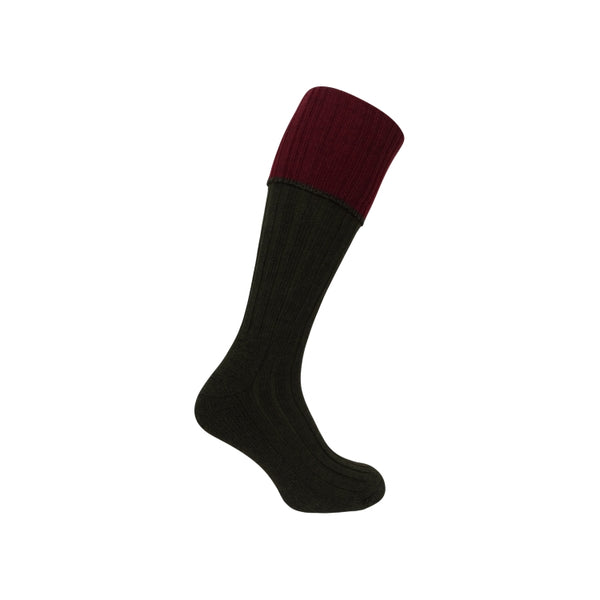 Hoggs of Fife Contrast Turnover Top Stocking - Dark Green/Burgundy