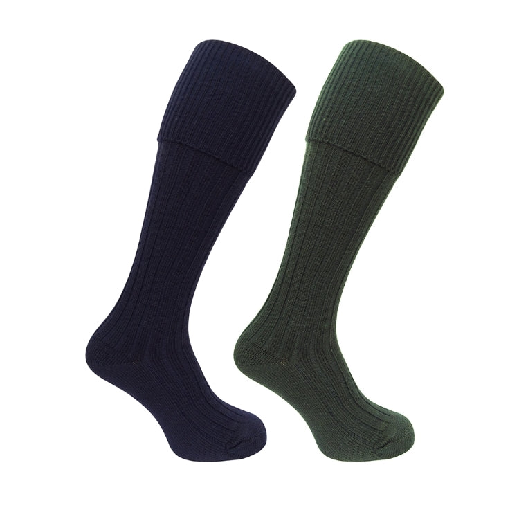 Hoggs of Fife Plain Turnover Top Stocking - Dark Olive/Navy - Twin Pack