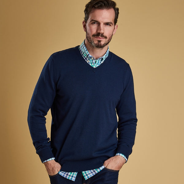 Barbour Alfreton V Neck Sweater - Blue
