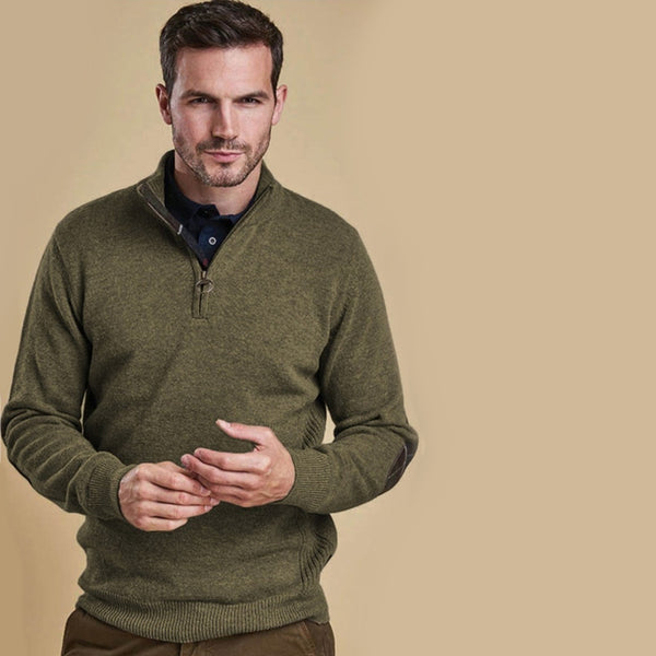 Barbour Holden Half Zip Sweater - Olive Marl