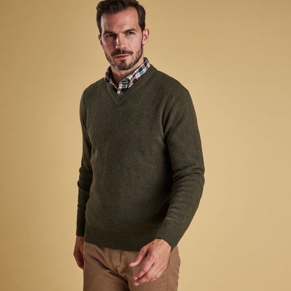 Barbour Nelson Essential V Neck Sweater - Seaweed