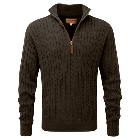 Schoffel Cotton Cashmere Cable 1/4 Zip Jumper - Loden