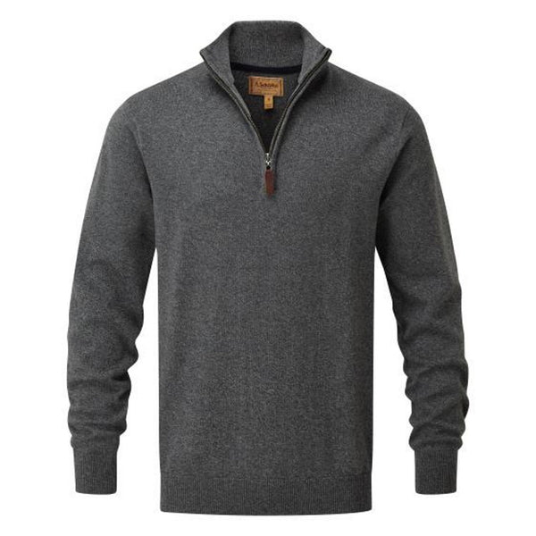 Schoffel Cotton/Cashmere ¼ Zip Jumper - Castle Grey