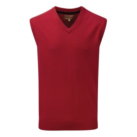 Schoffel Sleeveless Cotton Cashmere V Neck Sweater - Rich Red