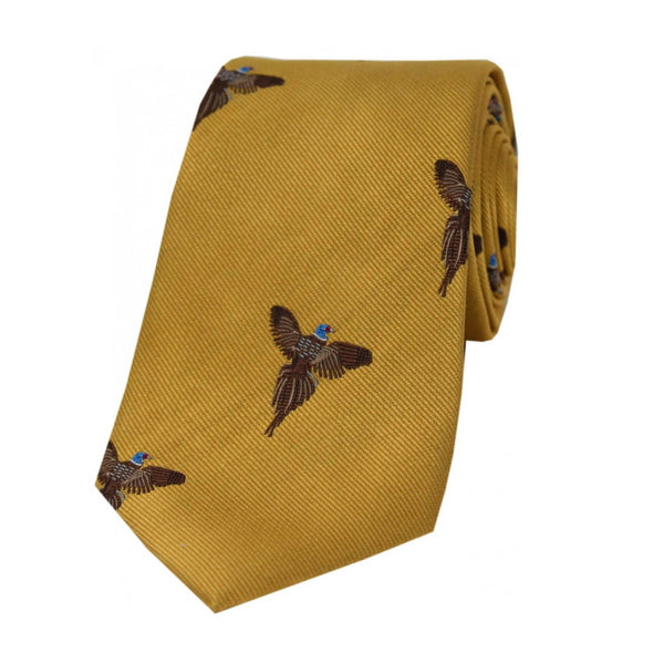 John Norris Country Woven Silk Tie - Gold Flying Pheasant