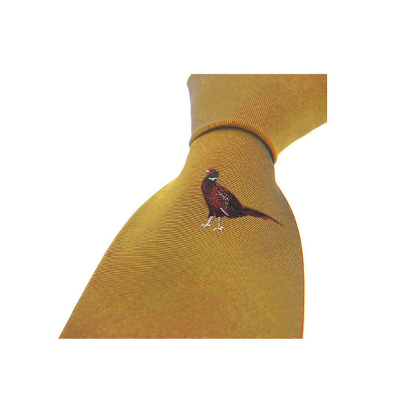 John Norris Country Woven Silk Tie - Gold Pheasant