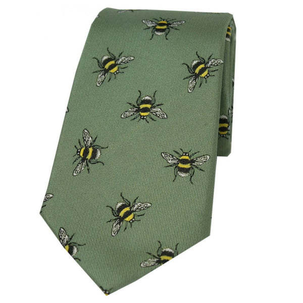 John Norris Country Woven Silk Tie - Moss Green Bee