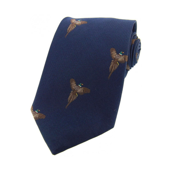 John Norris Country Woven Silk Tie - Navy Flying Pheasant