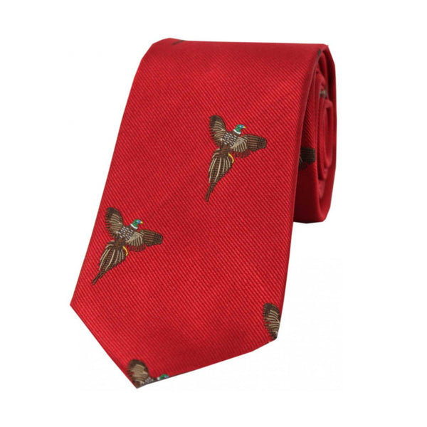 John Norris Country Woven Silk Tie - Red Flying Pheasants